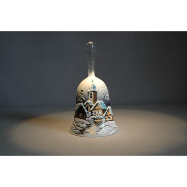Zvonek vánoční s držadlem 13 cm den/noc tmavě modrý