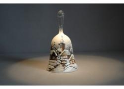 Zvonek vánoční s držadlem 13 cm den/noc šedý