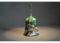 Zvonek vánoční s držadlem 13 cm den/noc tmavě zelený
