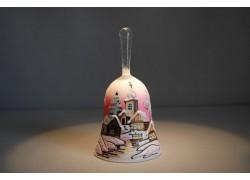Zvonek vánoční s držadlem 13 cm den/noc růžový