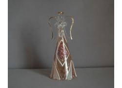 Skleněný anděl bronzovo fialový dekor