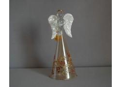 Sklenený anjel bronzový, biele krídla