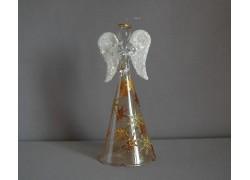 Sklenený anjel bronzový s hviezdami