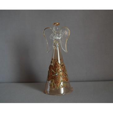Sklenený anjel bronzový s kvetinou www.sklenenevyrobky.cz