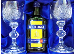 Becherovka gift set cut glasses