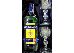 Becherovka gift set cut glasses