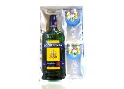 Becherovka gift set painted glasses