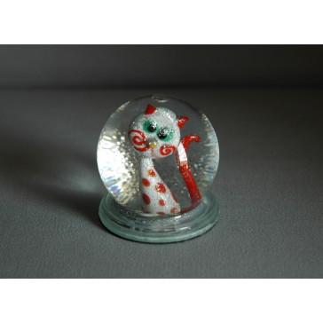 Sněžící koule 60mm kočka s puntíky