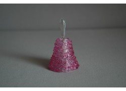 Sklenený zvonček v ružovej farbe