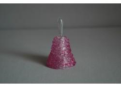 Zvonek skleněný 6,5cm růžový