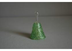 Sklenený zvonček v zelenej farbe