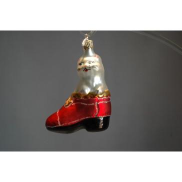 Vánoční ozdoba kotě v botě F165