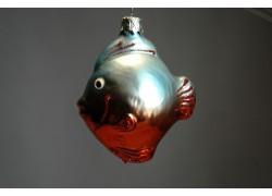 Vánoční ozdoba rybka F129 světlemodrá/červená